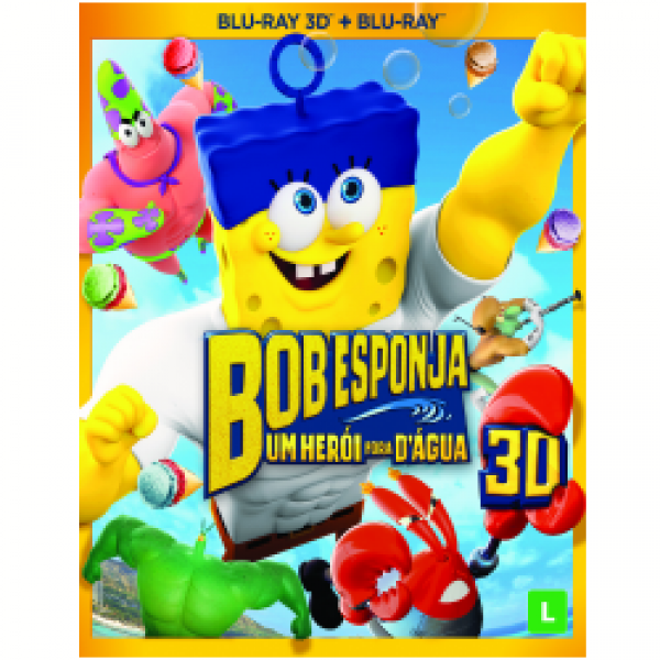 Blu-Ray 3D + Blu-Ray - Bob Esponja - Um Herói Fora D'água