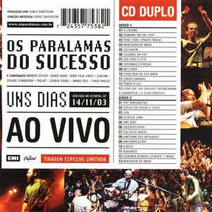CD Os Paralamas do Sucesso - Uns Dias Ao Vivo (DUPLO)